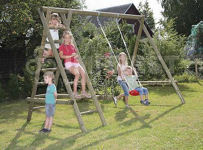 Single wooden garden swing and climbing frame