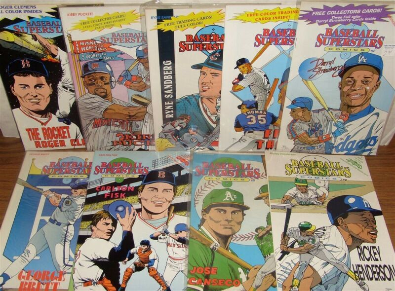 BASEBALL SUPERSTARS 5 6 8 9 10 11 12 13 15 COMIC LOT W/CARDS THOMAS 1992 VF+