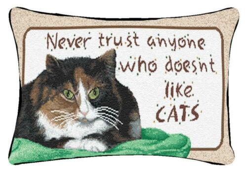 """NEVER TRUST..."" CAT PILLOW"