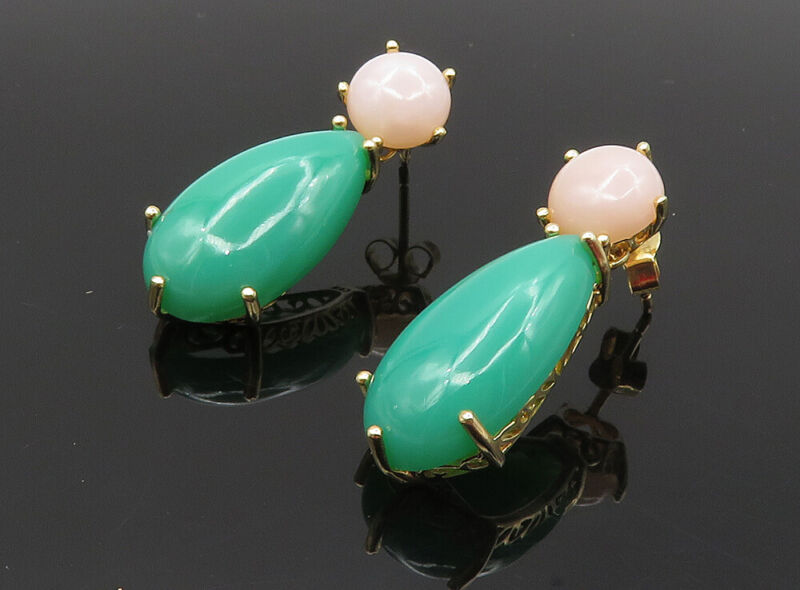 925 Sterling Silver - Turquoise & Rose Quartz Gold Plated Drop Earrings - EG4771