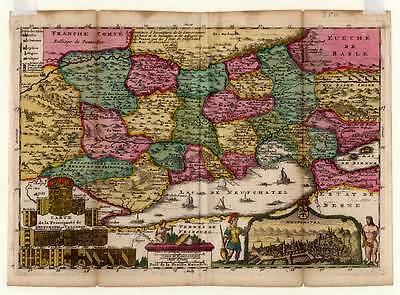 Neuchâtel-Neuenburg Kupferkarte De La Feuille 1706