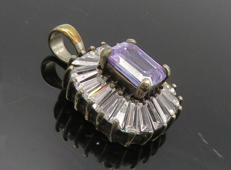 925 Sterling Silver - Vintage Purple & White Cubic Zirconia Pendant - PT6730