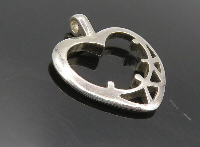 925 Sterling Silver - Vintage Shiny Open Love Heart Unity Drop Pendant - PT6546