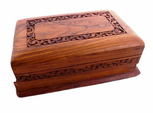 Wooden Jewellery / Trinket Box with Hand-Carved Lid & Secret Lock. Fair Trade