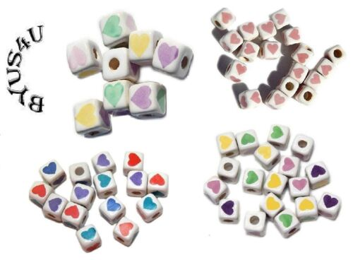 CERAMIC BEADS CUBE SQUARE HEARTS LOVE theme CHOOSE SPECIAL SALE