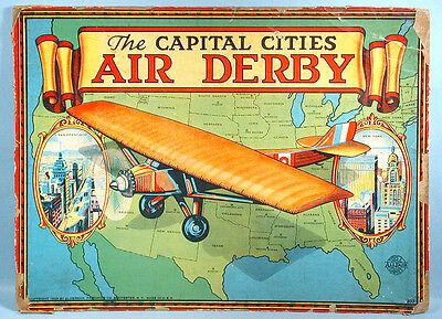 1928 Capital Cities Air Derby Game Box Top Spirit Of St Louis Monoplane All Fair