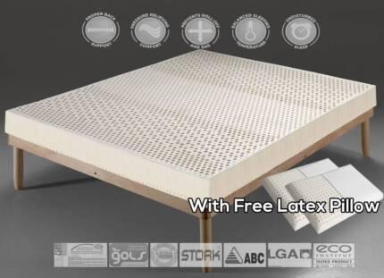 Brand New. 7-ZONE Organic 100% Natural Latex topper/mattress