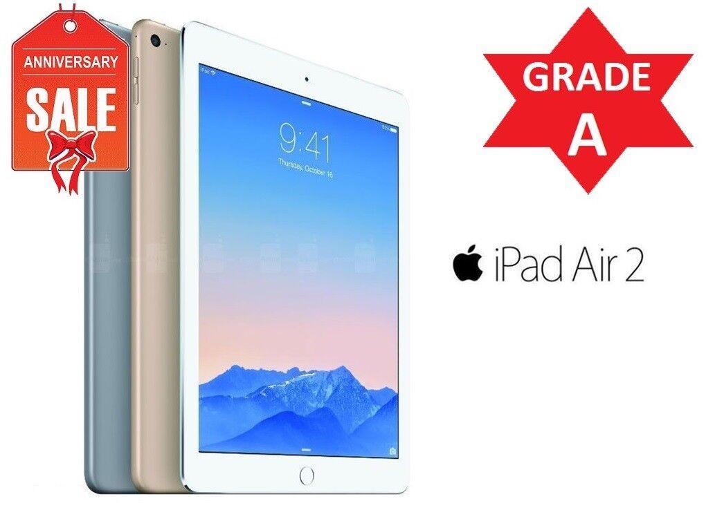 Apple iPad Air 2nd, WiFi + Unlocked - 16GB 32GB 64GB 128GB - Gray Silver Gold