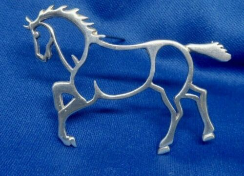 Sterling Silver Outlined Prancing Horse Pin Brooch Signed Frame Western English