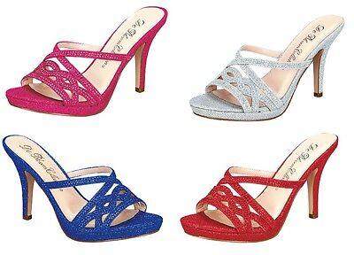 Strappy Shimmer Glitter Sandal Platform Heels Slide On Bridal Wedding Heel Glitter Sandal