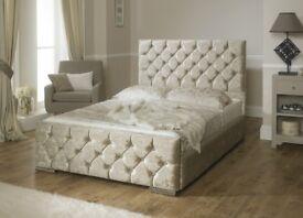 💖🔥💖💥❤TOP SELLER❤❤New Crushed Velvet Fabric Bed Frame Upholstered Chesterfield Single Double King