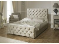 🔥Tall Diamond Tufted Headboard🔥New Double/King Crush Velvet Chesterfield Bed+ Memory Foam Mattress