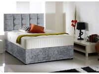 King Size Crush Velvet bed with memory foam/Orthopedic mattress +Free headboard