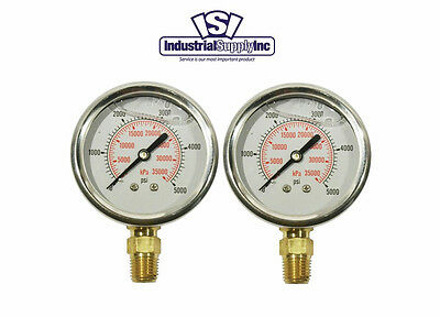 2-pk 0-5000 Psi 2.5 Liquid Filled Hydraulic-air-water Pressure Gauge