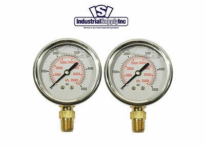 2-pk 0-5000 Psi 2.5 Liquid Filled Hydraulic-air-water Pressure Gauge