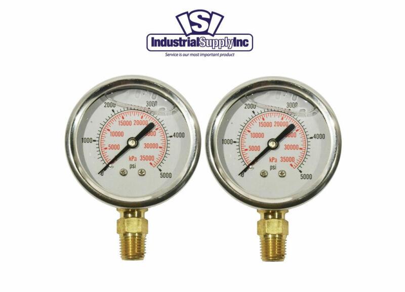 "2-Pk 0-5000 psi 2.5"" Liquid Filled Hydraulic-Air-Water Pressure Gauge"