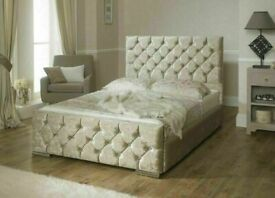 🌈🌈Perfect Bed Design🌈🌈CHESTERFIELD CRUSH VELVET DOUBLE BED FRAME SILVER,BLACK & CREAM COLOR