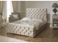 BRAND NEW CRUSHED VELVET FABRIC SLEIGH BED FRAME SINGLE / DOUBLE / KING SIZE