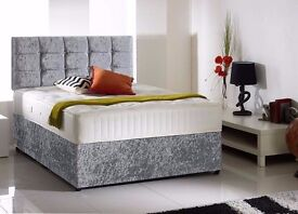 Delivery 7 Days a week BRANDNEW GOOD Quality Crushed Velvet Bed Mattress & Diamante Headboard