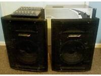 600w PA system - mixer amp & speakers