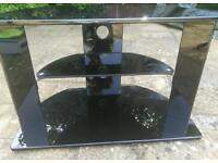 Black gloss TV stand for sale - small/medium