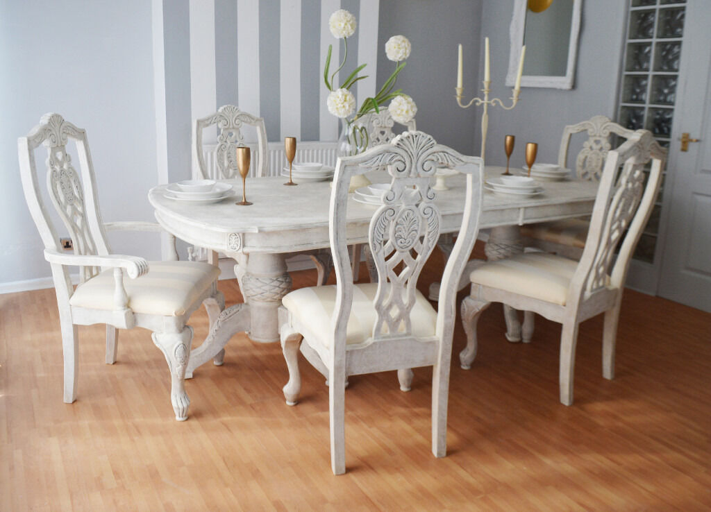 unique elegant luxury french shabby chic antique dining table six chairs in. Black Bedroom Furniture Sets. Home Design Ideas