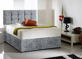 Delivery Today Good Quality Crushed Velvet Single Double King Bed Luxury Mattress and Headboard