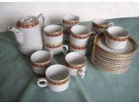 25 piece coffee set white with red and gold trim as new
