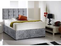 Crush velvet double divan bed with free head board