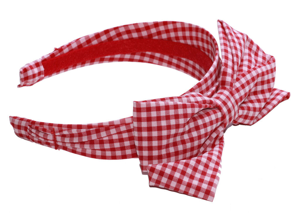 MINI MOUSE INSPIRED RED /& WHITE CHECKERED ADJUSTABLE HEAD BAND BOW ZX54