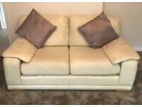 Italian Cream Leather Sofas (3&2)