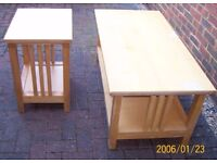 Sitting Room furniture - Solid wood coffee tables 1 large & 1 small, mirror, shelf £50