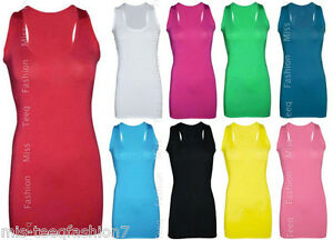 New-Ladies-Long-Sleeveless-Bodycon-Racer-Back-Muscle-Vest-Womens-Maxi-Top-8-14