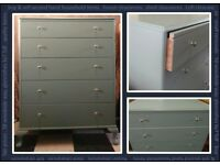 Sage coloured Chest of 5 Drawers