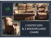 2 Seat Sofa and 2 Electric Riser Recliner Chairs
