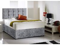 Can Deliver Today GOOD QUALITY CrushedVelvet Single Double King Bed LuxuryMattres Diamante Headboard