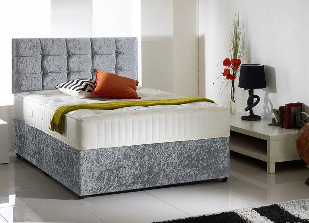 Crushed velvet good quality divansets single double bed for Double divan bed no headboard