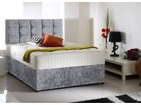 Crushed Velvet Good Quality Divan Set Bed Luxury Mattress Headboard Double Bed King Bed Single bed