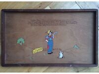 Vintage 'Little Boy Blue' nursery rhyme wooden tray