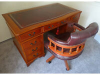 Antique Style Leather Top Pedestal Writing Office Desk (Key) 4.5ft X 2.5ft & Captains Chair