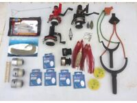 Fishing reels , spools , hooks , weights , bait , other items ,