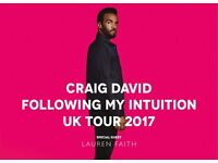 2 CRAIG DAVID SEATED TICKETS EXCELLENT SEATS MANCHESTER ARENA 1/4/2017