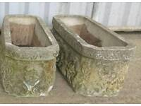 Two Vintage Very heavy Large Concrete Planters