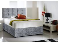 Same day Timed (3Hour Slots) Crushed Velvet Strong Double Bed /Premium Quality Mattress / Headboard