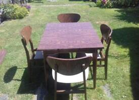 Vintage 1950s Extendable Dining Table & Chairs