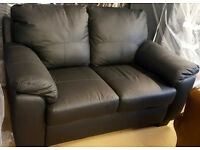 Brand New Logan Leather Regular Sofa - Black. -Can Deliver-
