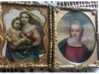 Victorian miniature portraits in gold ornate frames