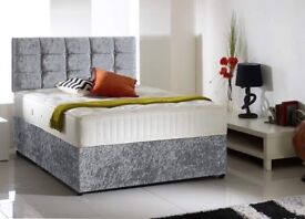 DELIVERY TODAY Crushed Velvet 4ft6 Double Bed Full set £169 Bed MemoryfoamMattress Crystal Headboard