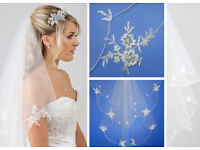 Wedding veil with lace applique by Richard Design (Cathedral length)