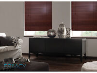 Walnut wood blind with 63.5mm slats. 120 cm x 120 cm. Brand new and in its box